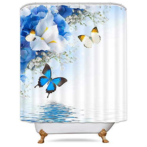 Blue Butterfly Up Lake Shower Curtain