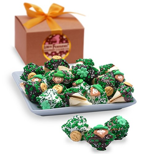 St. Patrick's Day Fortune Cookies - Gift Box of 12 by EdibleGiftsPlus.com