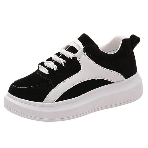 Zapatos de Cordones para Mujer,Moda Mujer Zapatillas Casual Zapatos Planos Solos Zapatos Wild Cordones Deporte Zapato Zapatillas de Gimnasio Running Casual ...