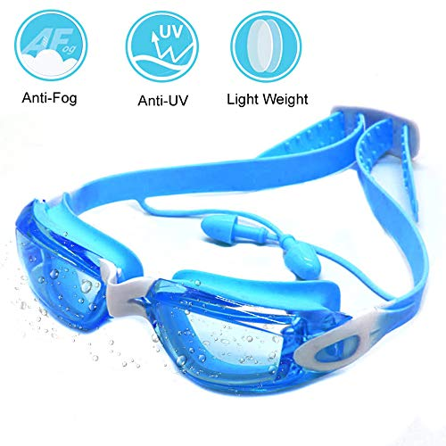 Zerhunt Swim Goggles for Kids 2019 Newest, Swimming Goggles UV 400 Protection Anti Fog No Leaking Wide View Pool Goggles with Ear Plug & Protective Case ()