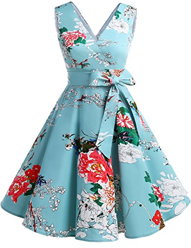 DRESSTELLS Vintage 1950s Solid Color V Neck Retro Swing Dress With Bow Tie Floral - Retro Bow Ties