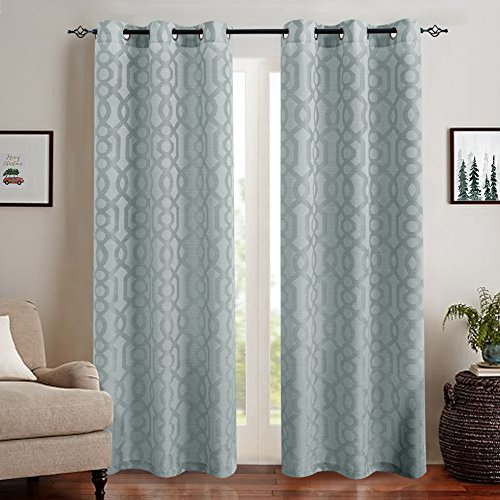 Jacquard Curtains for Living Room 63 inches Long Trellis Geometric Opaque Semi Sheer Window Curtains for Bedroom Curtain Panels Grommet Top Neutral Gray, 2 Panels (Jacquard Sheer)