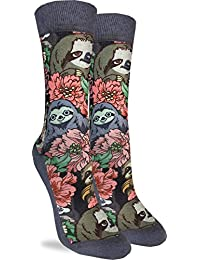 Good Luck Sock Women's Floral Sloths Crew Socks - Grey, Adult Shoe Size 5-9
