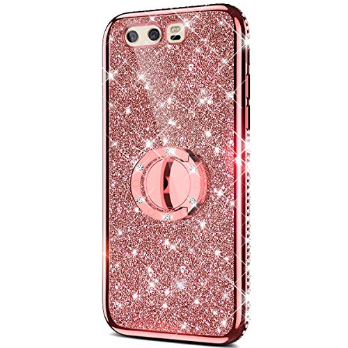 Price comparison product image Case for Huawei P10 Plus Glitter Case, Sparkly Glitter Bling Diamond Rhinestone Bumper with Ring Kickstand Flexible Soft Rubber TPU Protective Case Cover for Huawei P10 Plus Case Girl Women, Rose Gold