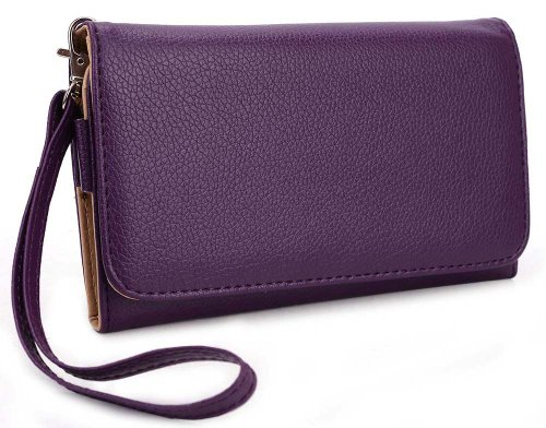 Purple Universal Smarphone Wristlet Wallet for Huawei Ascend Mate Mobile + EnvyDeal Velcro Cable Tie