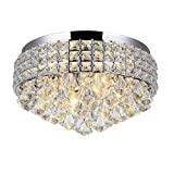 Homestia Chrome LED Round Crystal Chandelier Pendant Lamp Ceiling Lighting Light Luxury