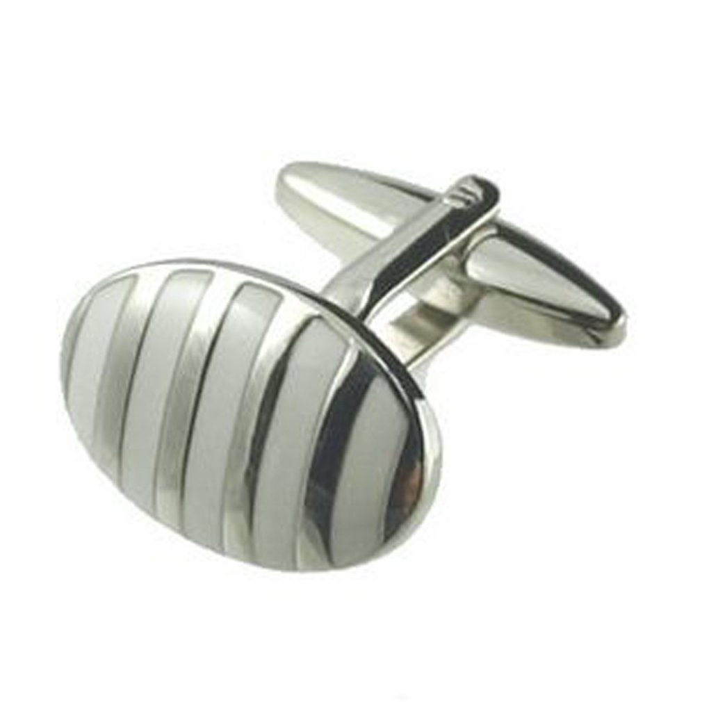 Select Gifts Pair Dome White Stripe Cufflinks Optional Engraved Personalised Box