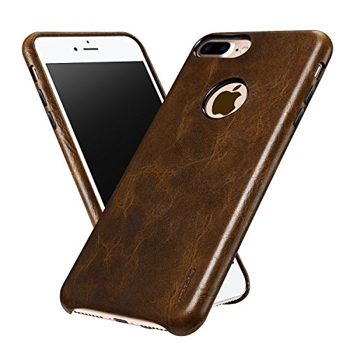 iPhone 7 Plus Case, ALYEE Ultra Thin Real Genuine Leather Protective Case Cases Covers for iPhone7 Plus 5.5 inch(Coffee)
