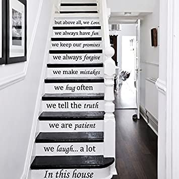 Wall Decals Staircase Quotes In This House We Love Stair Case Stairway Stairs Quote Wall Vinyl Decal Stickers Bedroom Murals Amazon Com