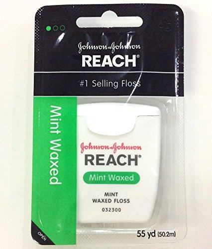 Floss Mint Reach Waxed (Johnson&Johnson Reach Mint Waxed Dental Floss 55 Yd (Pack of 5))