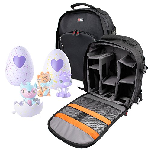 DURAGADGET Black Nylon Rucksack with Adjustable Padded Interior & Rain Cover for Storing Your Hatchimals Colleggtibles Toys/Hatchimals Surprise Giraven ()