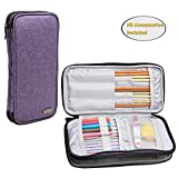 Teamoy Knitting Needles Case(up to 10-Inch), Travel Organizer Storage Bag for Circular and Straight Knitting Needles, Crochet Hooks and Knitting Accessories, Purple--NO ACCESSORIES INCLUDED