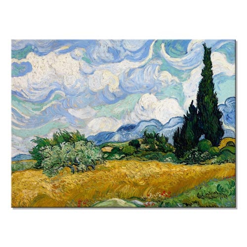 Wieco Art Wheat Field with Cypresses by Van Gogh Classical Oil Paintings Reproduction Large Modern Canvas Print Wall Art Landscape Pictures Stretched and Framed Giclee s Artwork for Home Office Decor (Prints Stretched Canvas)