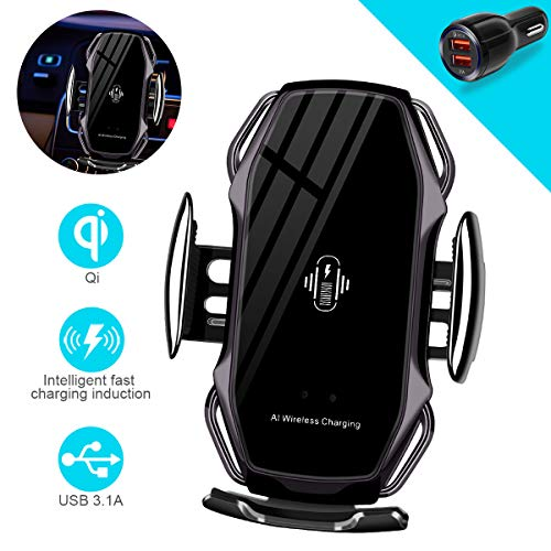 Wireless Charger Car Touch Sensing Automatic Retractable Clip Fast Charging Compatible for iPhone Xs Max/XR/X/8/8Plus Samsung S9/S8/Note 8 (G-Black)