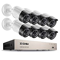 ZOSI 8CH FULL 1080P HD-TVI Video Security System DVR Recorder with 8 Weatherproof 1920TVL 2.0MP 100ft Night Vision Surveillance Camera System NOHard Drive