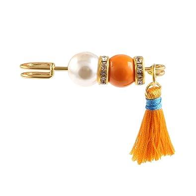 Broche perlas borla bola de piel traje Pin cristal broches ...