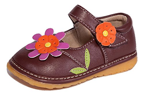Toddler Shoes | Squeaky Brown with Orange Flower Mary Jane Toddler Girl Squeaky Shoes | Premium Quality (Removable Squeakers)(6)