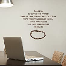 AMON Graphic John 3:16 For God So Loved The World Art Deco Decor Mural Stickers Removable Wall Decals Home Decal Brown