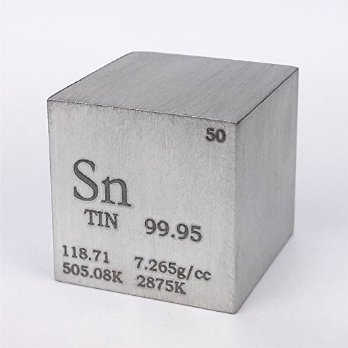 1 inch 25.4mm Tin Metal Cube 99.95% 119grams Engraved Period Table
