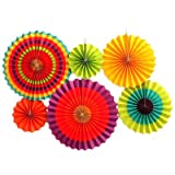 SODIAL(R) 6 Pcs Colorful Fiesta Tissue Paper Fan Home Birthday Wedding Party Hanging Decoration(colour)