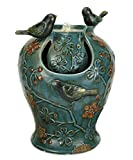 Nature's Garden Verdigris Songbird Fountain with LED Light, Blue