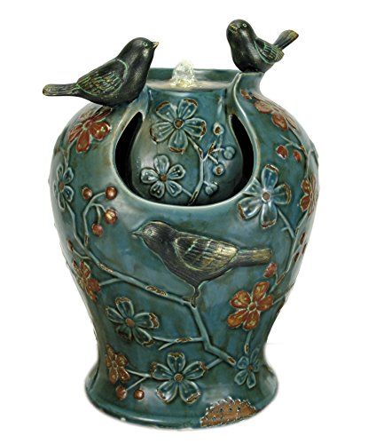 "Nature's Garden Verdigris Songbird Fountain with LED Light, Blue - Hand Glazed Porcelain 9.25"" x 8.25"" x 13.25""H Comes with pebbles - patio, outdoor-decor, fountains - 51MItXBHbQL -"