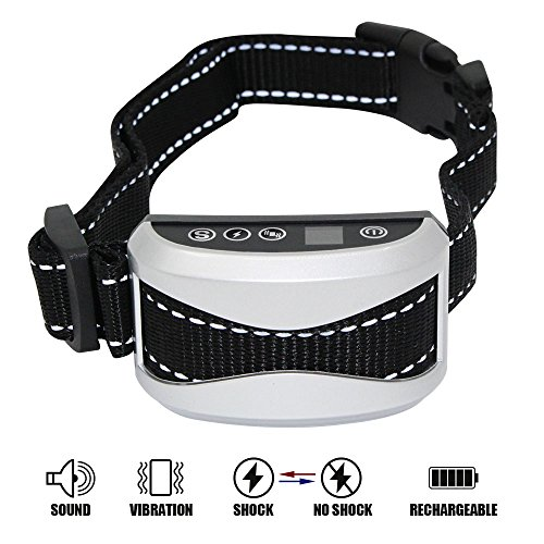 Faciab Bark Collar , Shock Collar for dogs, 7 Sensitivity, Rainproof , Rechargeable and Safe Dog Training Collar (silver)