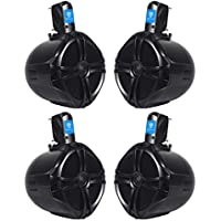 (4) Rockville RWB80B 8 Black 2 Way 300 Watt Marine Wakeboard Tower Speakers