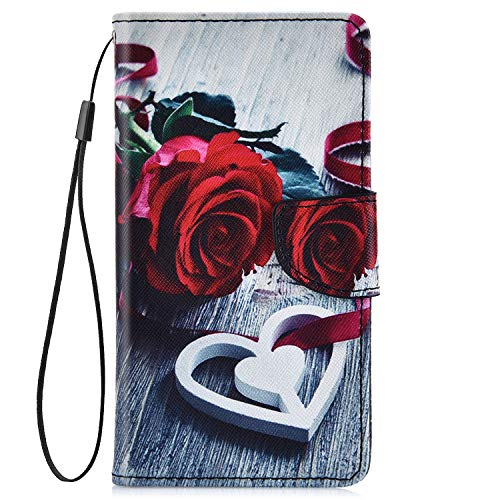 IKASEFU Compatible with Samsung Galaxy S7 Edge Pu Leather Wallet Strap Case Card Slots Shockproof Magnetic Leather Folio Flip Book Cover Painted Pattern with Card Slots Stand Protective Case,Red rose