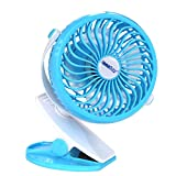 INNOBAY Desk Wall Mountable Mini Rechargeable Fan Clip On Versatile Cooling Fan for Home, Office, Bedroom, Gaming Room, Computer Table and Multi-scenes (Blue)