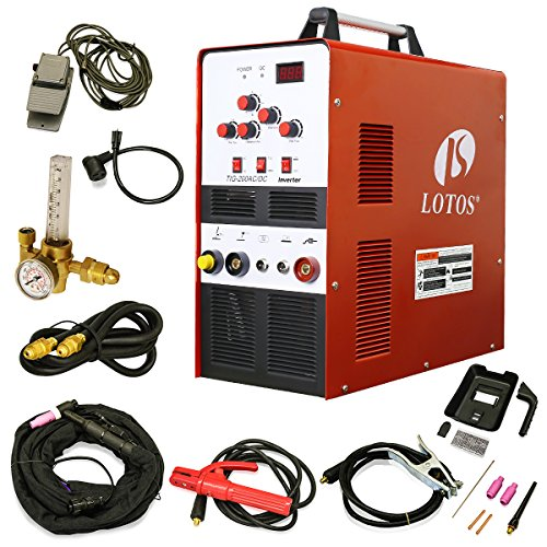 LOTOS TIG200 200A AC/DC Aluminum Tig/Stick Welder Square Wave Inverter with Pedal and Mask by Lotos Technology