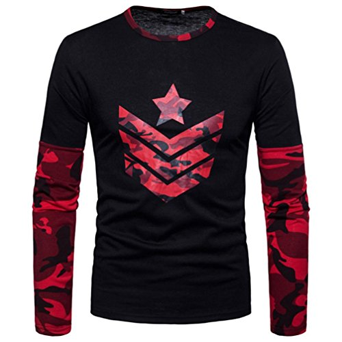 Print Top Autumn Men's Long Joint PASATO Camouflage Sleeved Red Sweatshirts Blouse qRtpw