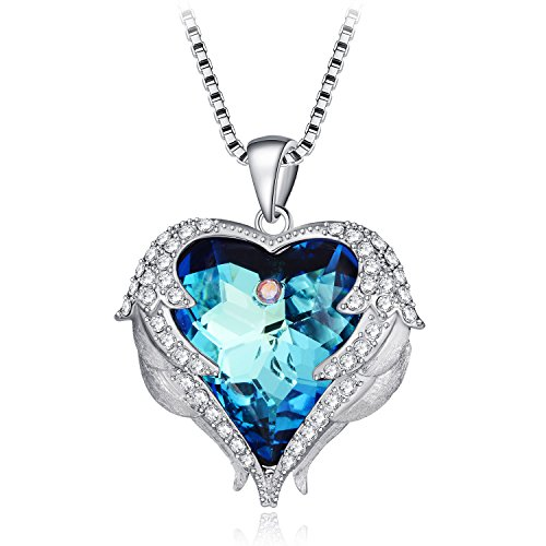 QIFA Pendant Heart Birthstone Necklace Guardian Angel Wings (Angel Heart Pendant)