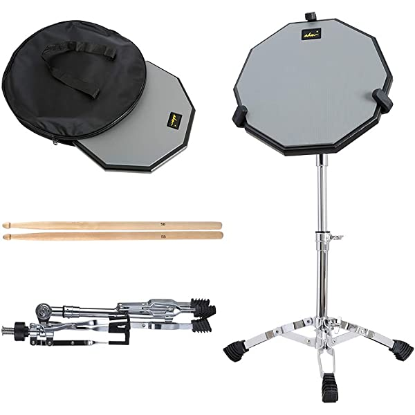 12 Inch Double Side Drum Pad with Adjustable Snare Drum Stand 3 Pairs of 5A Drum Sticks and Carry Backpack Drum practice pads with stand