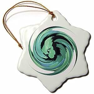 Florene Spiritual Energy - Aquamarine Too - 3 inch Snowflake Porcelain Ornament (orn_34764_1)