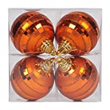 Vickerman 376669 - 4'' Burnished Orange Shiny Matte Glitter Mirror Ball Christmas Tree Ornament (4 pack) (M151418)