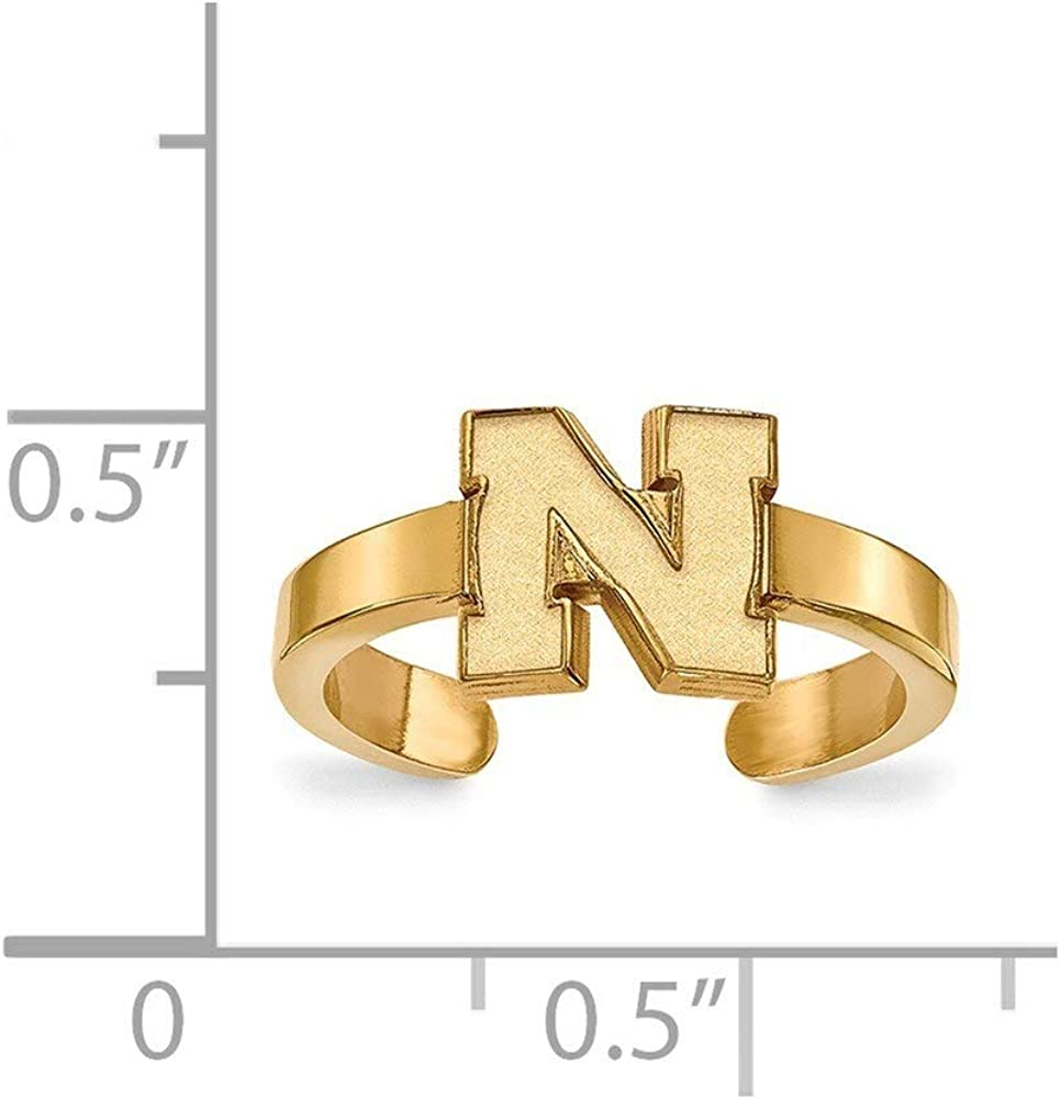 Lex /& Lu LogoArt Sterling Silver w//GP University of Nebraska Toe Ring LAL142071