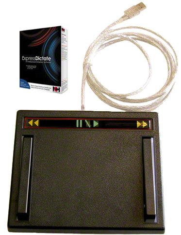 USB Transcription Foot Pedal with Express Dictate Software