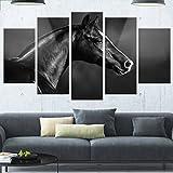 Designart MT13467-373 Black Arabian Horse Portrait - Extra Large Animal Metal Wall Art,Black,60x32
