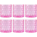 """Set of Six Clear Pink Glass Votive Candle Holders, 3"""""""