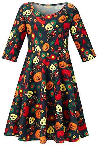 Halloween Props Sydney (Girl's Outfit Clothing Halloween Round Neck Vintage Skirts Colorful Ghost and Cute Pumpkin 3D Printed Dresses for Party Long Sleeve Frock for All Season 6-7 Years)