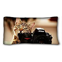 "Decorative King Pillow Case Animals Cat Nikon Camera Photographer Nikon D700 Lens Animals 20""*36"" One Side"