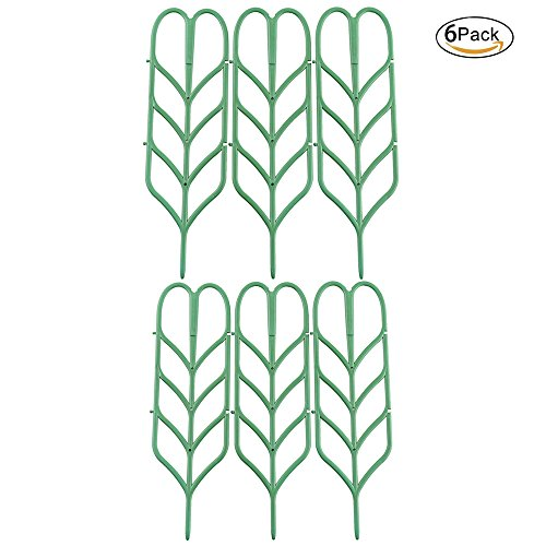 Povkeever Plastic Plant Support Trellis Leaf Shape for Potted Plant Winding Climbing DIY Garden Green (6Pcs) by Povkeever