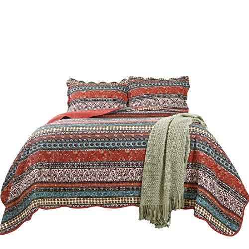 Chezmoi Collection Odette 3-Piece Boho Chic Rust Orange Brown and Red 100% Soft Cotton Bohemian Bedspread Quilt Set, King Size