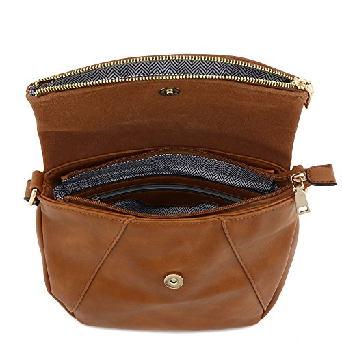 Faux Flap Crossbody Bag Calfskin Leather Suede Brown with qwq6Ax81