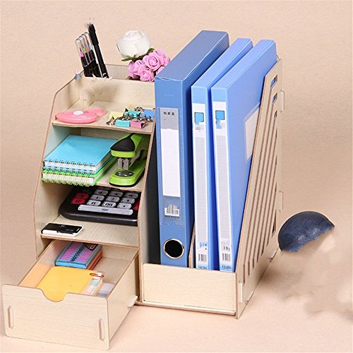 - Desktop A4 File Basket Data Storage Rack Wooden File Rack with Drawer/Pen Holder Organizer Office Organizer, 27.5×26×30cm,Oak