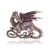 Teniu Animal Dragon Brooch Purple Rhinestone Crystal Brooch Diamond Rose Gold Brooch Pins for Women/Men (dragon)