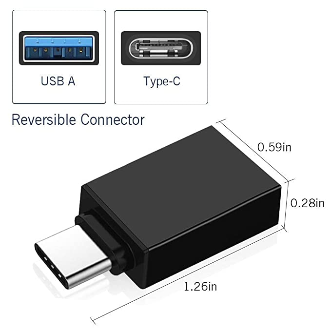 StuffHoods Metal Type C Male to USB A 3.0 Female Converter Data Charger Charging Adapter  Multicolour