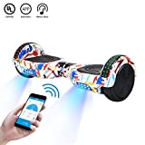 CXM2018 App Enabled Self Balancing Hoverboards with Bluetooth Speaker,LED Light and Carrying Case,Two Wheel Smart Electric Scooter,Available on iPhone & Android for Kids and Adults