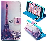 Welity Retro Eiffel Tower PU Leather Wallet Type Magnet Design Flip Case Cover Credit Card Holder Pouch Case for Apple iPhone 5C